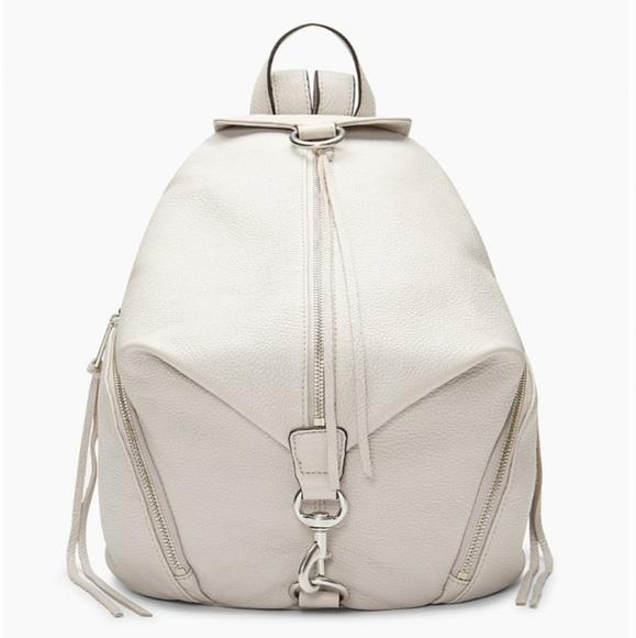 REBECCA MINKOFF Julian Metallic Silver Nylon Backpack NWT $145